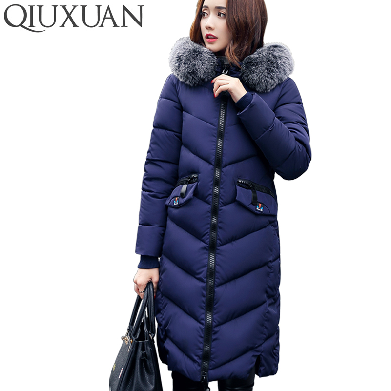 QIUXUAN 6 Colors Winter Jacket Women Fashion Warm Cotton Coat Big Faux Fur Hooded Collar Slim Long Parkas Female Outwear Coat women winter coat leisure big yards hooded fur collar jacket thick warm cotton parkas new style female students overcoat ok238