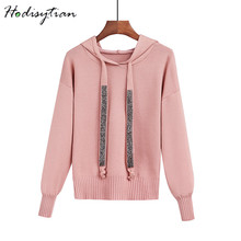 Hodisytian Fashion Women Knitted Hoodie Sweatshirts Pullover Long Sleeve Hooded Casual Slim Tunic Female Sueter Mujer Onesize