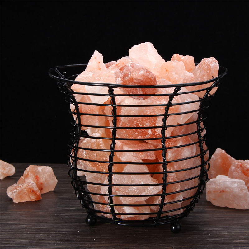 Night Light Air Purifier Black Iron Basket Salt Lamp Bulb Crystal Table Desk Light Bedside Bar Coffee Shop Home Decor Gifts цена