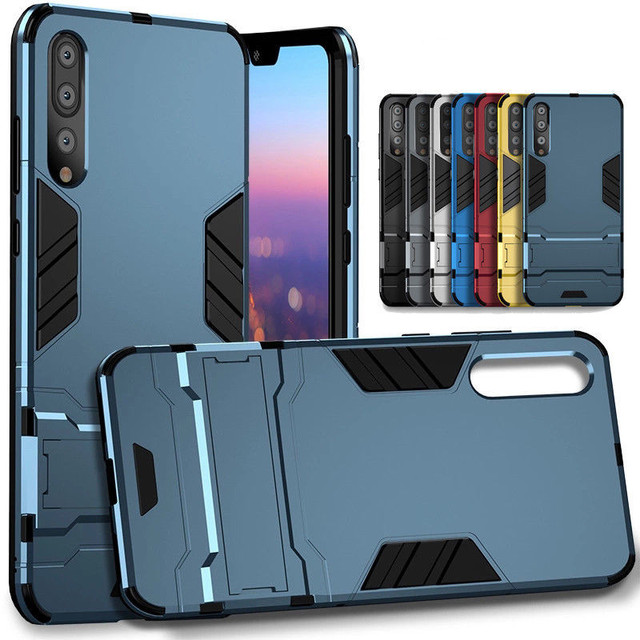 best quality 6c7d4 6a0c9 US $3.49 30% OFF|Luxury Dual Layer Shockproof Hybrid Rugged Armor Case for  Huawei P20 Pro Hard Shell with Holder Stand Cover for Huawei P20 Lite-in ...