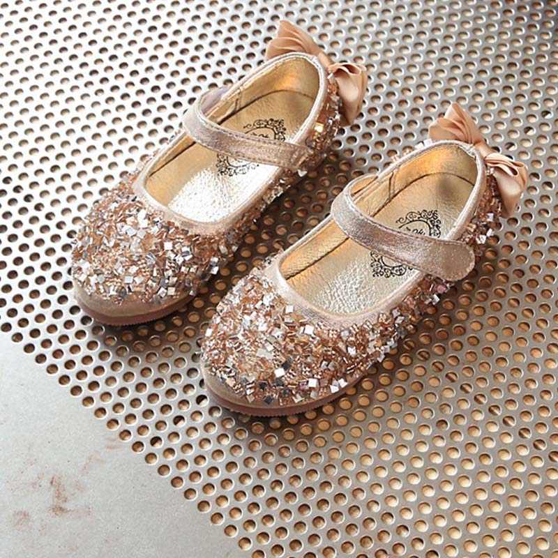 2017 fashion sequined girl wedding shoes kids mary jane shoes bling back bow girls flats princess toddler girls shoes size 21 30