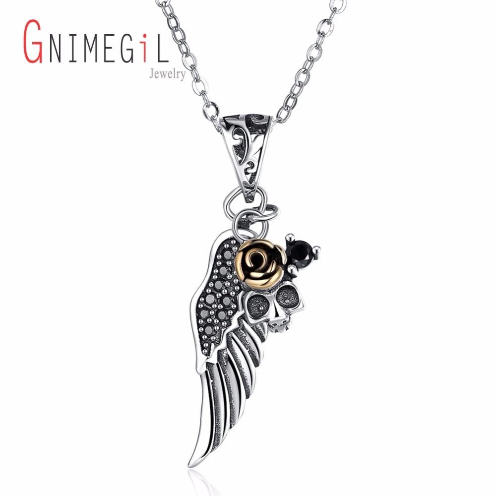 GNIMEGIL 925 silver Angel Wing&Gold color Rose Cross Choker Necklace Guardian Women Biker Crystal Jewelry Gifts Drop shipping