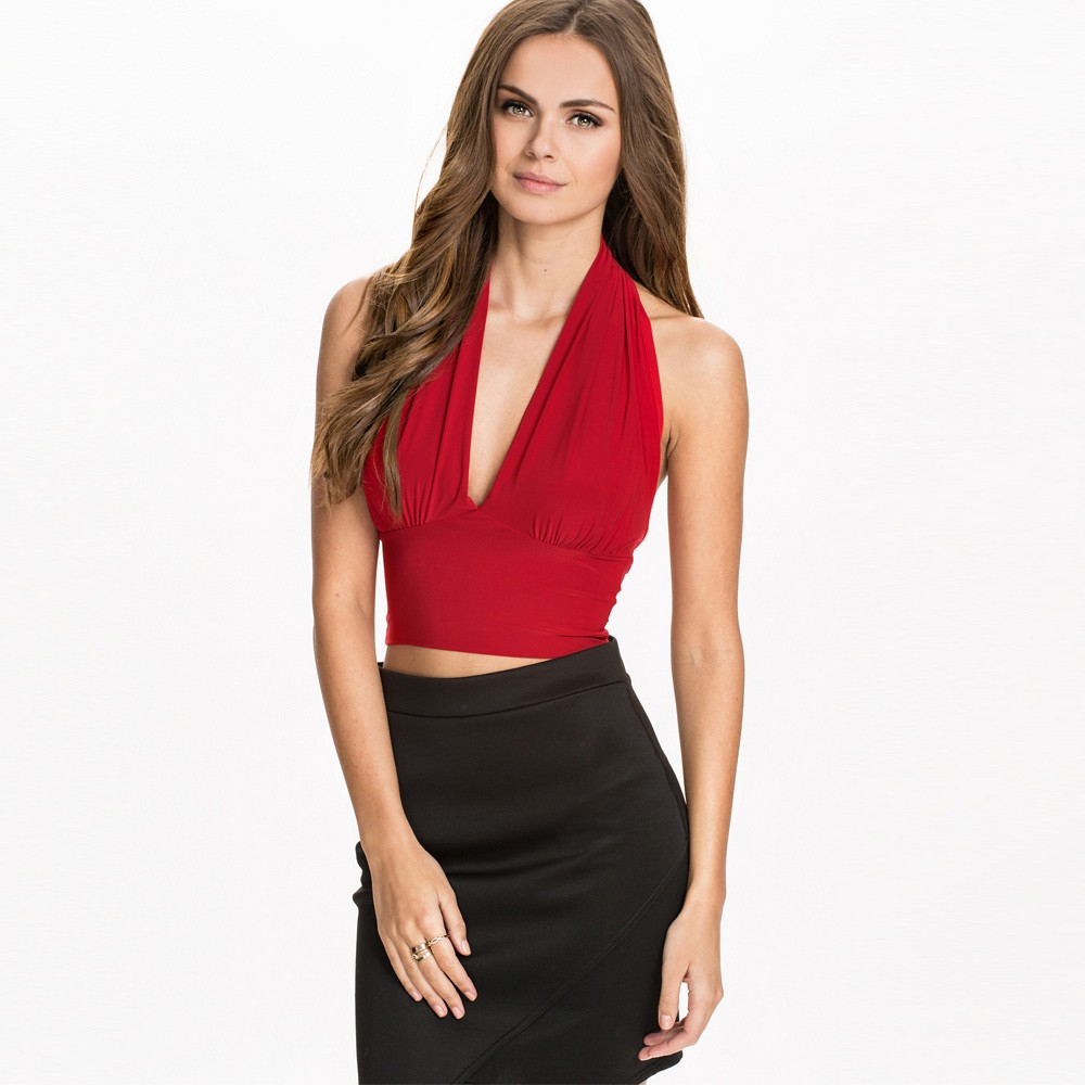 Cocktail dress deep v neck halter top