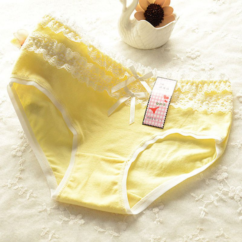 11 Colors Sexy Lace Underwear Women Cotton Panties Cute Casual Briefs Summer Thin Lingerie Knickers Underpants Candy Color