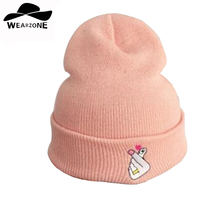 Fashion MEOW Cap Men Casual Hip Hop Hats Knitted Wool Skullies Beanie Hat Warm Winter Hat