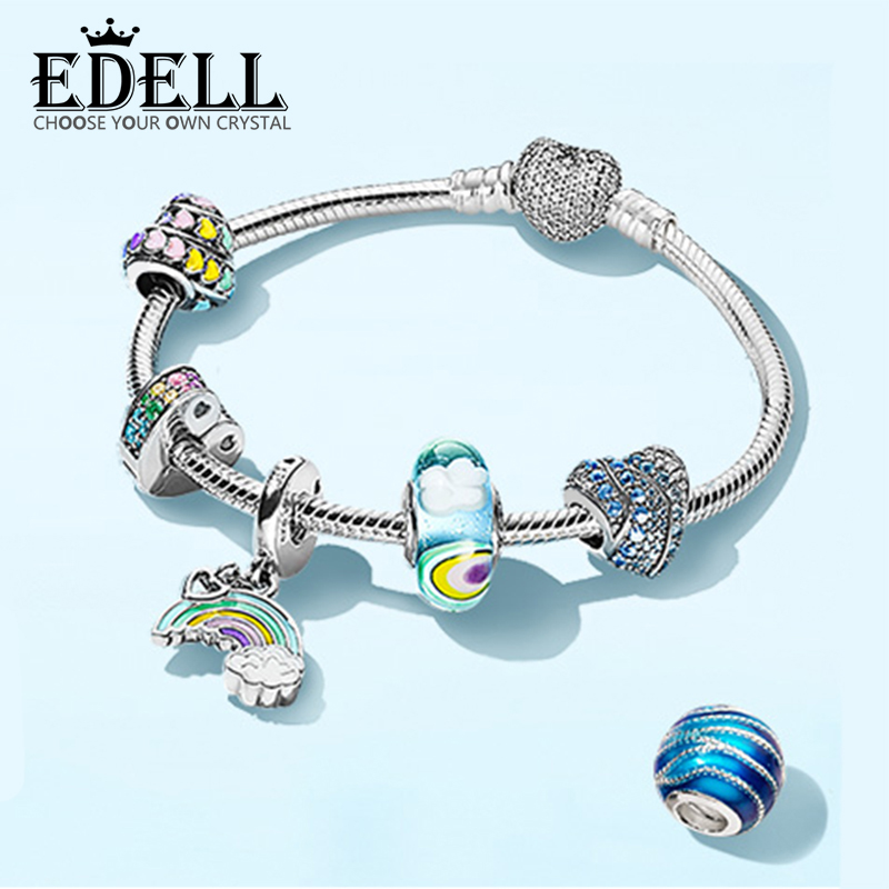 EDELL 100% 925 Sterling Argent Marque Nouveau Bracelet Set Inspiration Naturelle Calme Vagues Après la Pluie Ciel Et Arc-En-