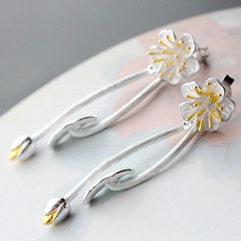 Original handmade silver lotus leaf lotus Thai silver earrings 925 sterling silver vintage long earrings бита bosch 2607001674 1шт 152мм torх t30 хh