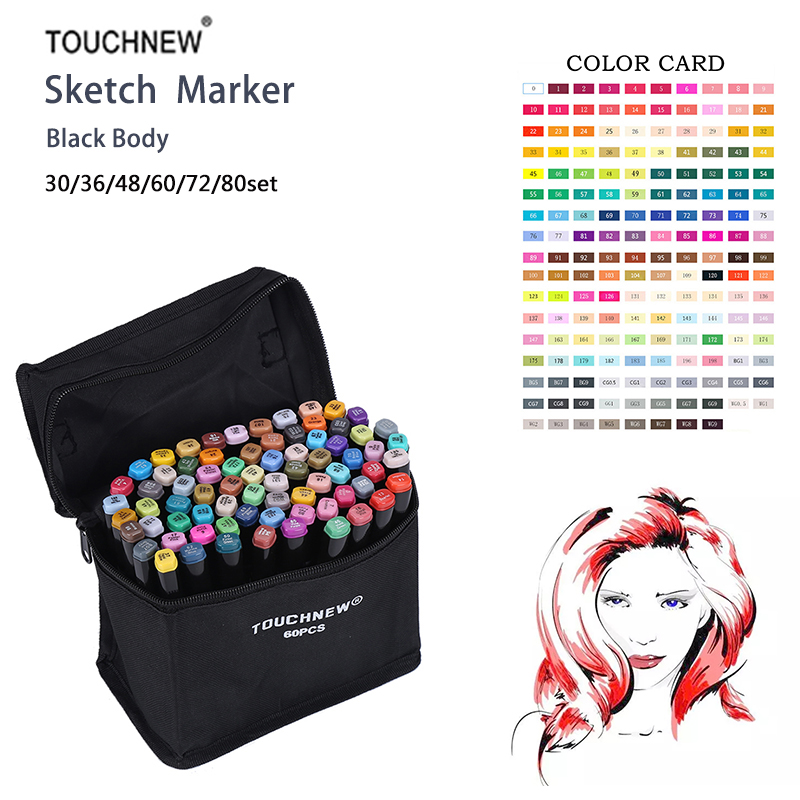 Touchnew 80 Colors set Alcohol Double Headed sketch Marker For School Drawing Marker Pen Animation Design School Supplies touchnew 80 colors artist dual headed marker set animation manga design school drawing sketch marker pen black body