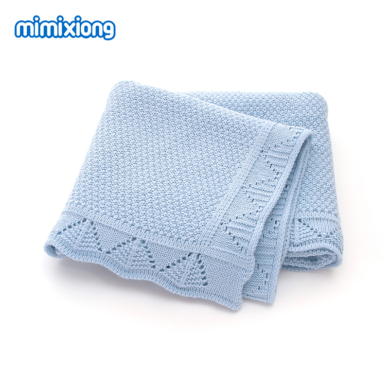 Baby Blankets Knitted Newborn Organic Infant Boy Girl Muslin Swaddle Wrap Blanket Solid Blue Toddler Kid Stroller Bedding Covers