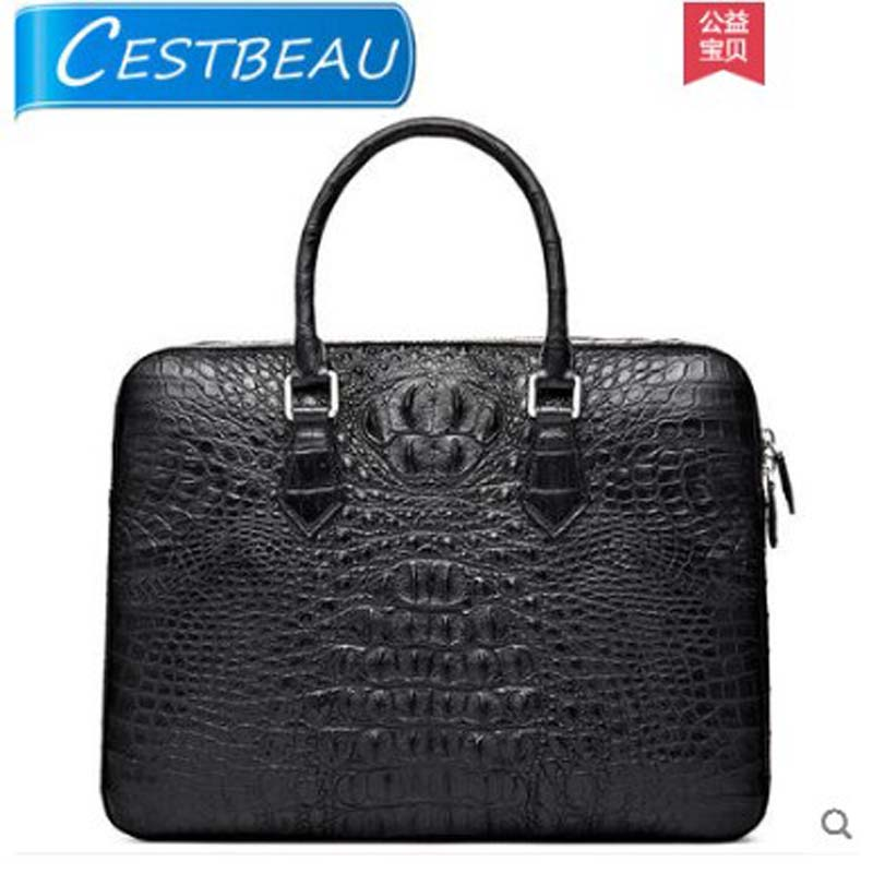 Cestbeau Thai crocodile leather mens bag casual business handbag domaze skull style mens briefcaseCestbeau Thai crocodile leather mens bag casual business handbag domaze skull style mens briefcase