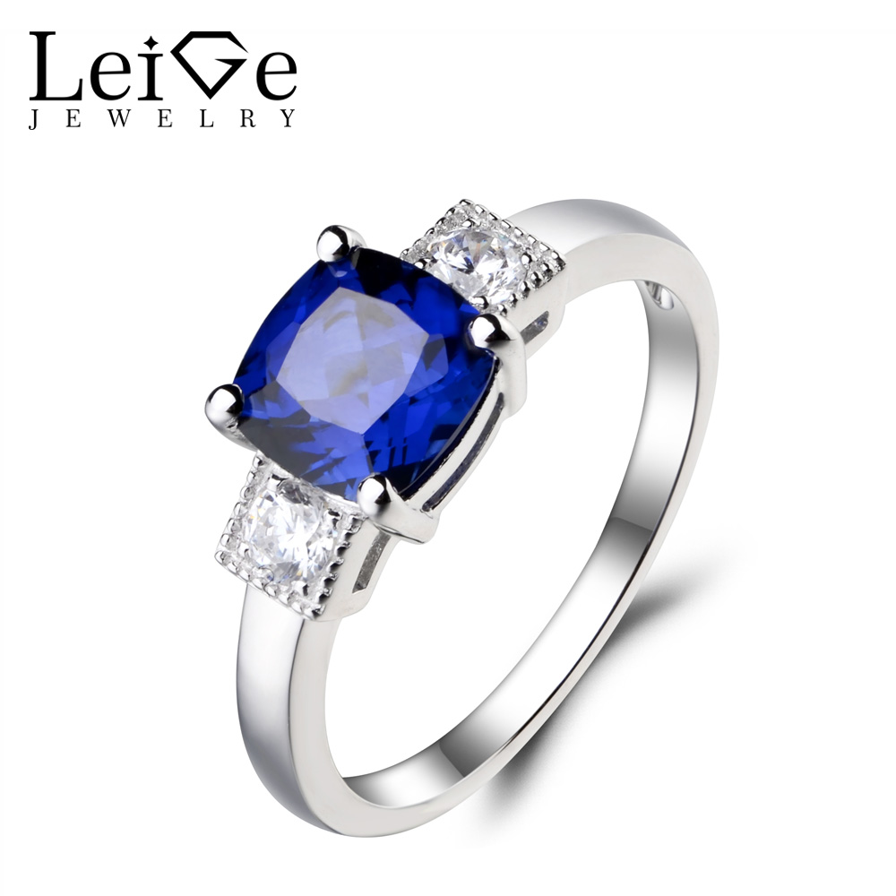 Leige Jewelry Cushion Cut Lab Blue Sapphire Ring Promise Ring Gemstone 925 Sterling Silver September Birthstone Solitaire Ring leige jewelry oval cut lab blue sapphire promise ring 925 sterling silver ring gemstone september birthstone halo ring for her