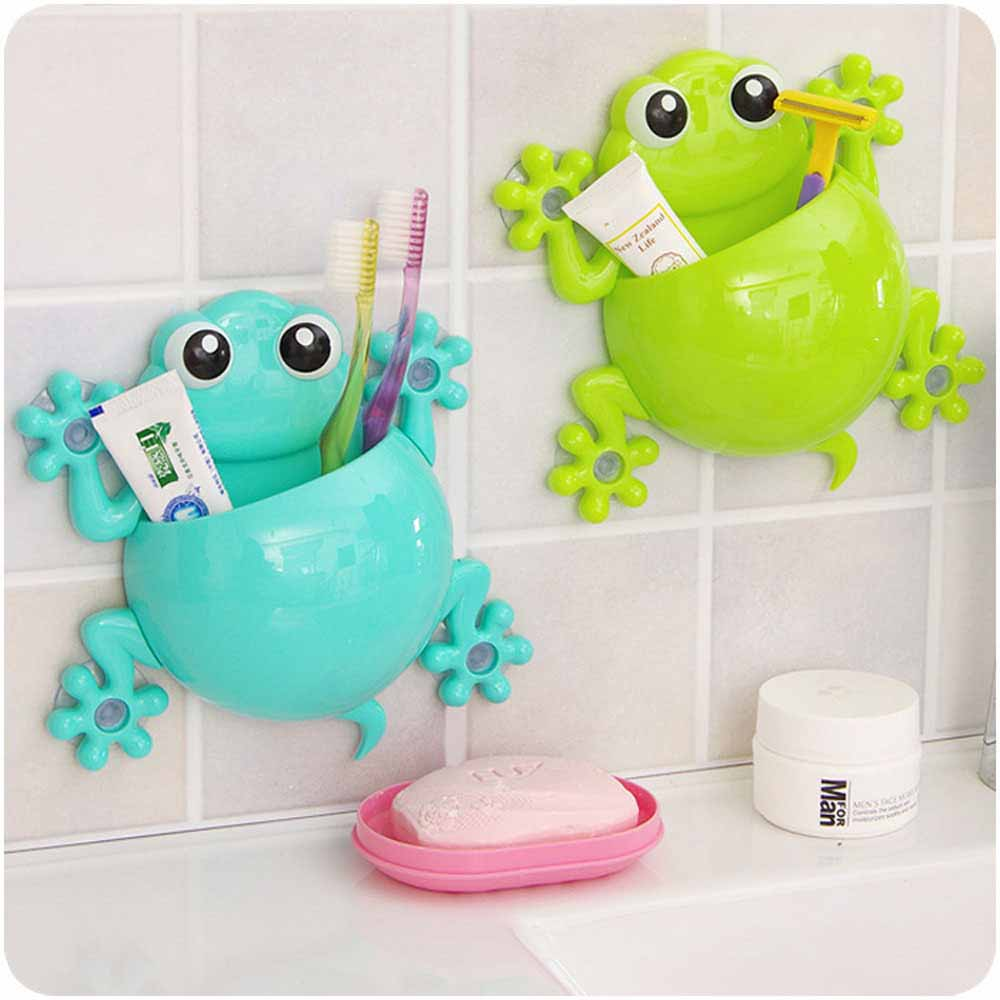 Frog bathroom set - Bathroom Sets Cartoon Toothbrush Holder Toothpaste Container Wall Sucker Hook Tooth Brush Holders Frog Shaped New