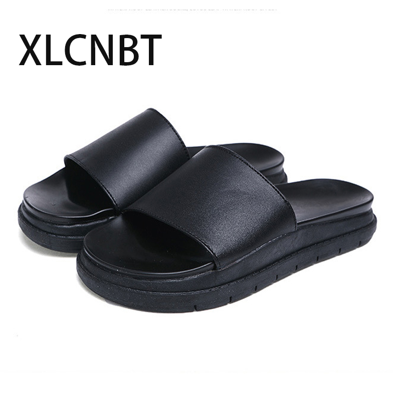 2018 new summer genuine leather slippers comfortable sandals flat with women  beach shoes females outsite slides high quality suihyung design new women and men summer flat shoes hit color breathable hollow beach slippers flips non slip unisex sandals