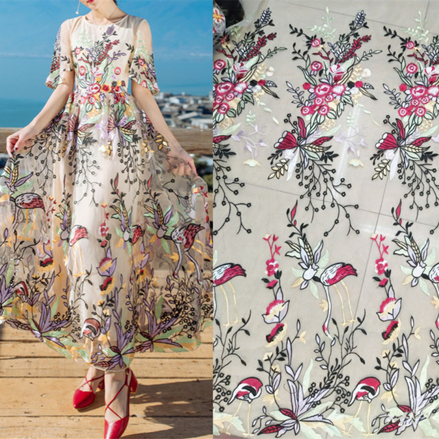 Fflacell 1 Yard Flower And Bird Designs Dress Embroidery Fabric