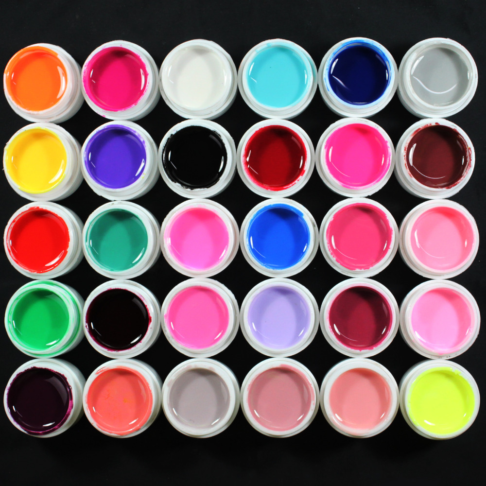 30 Pcs Solid Color UV Builder pure Gel Set False Full French Tips Nail Art Salon #Pure30C