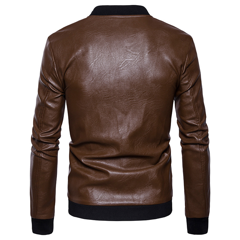 High quality creative autumn winter clothing new mens leather jacket mens fashion leather collar jacket