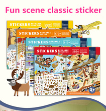 Stickers Kids New Reusable Sticker Book Game Pad Collection Educational Toys for Children Removable background scenes PuzzleGift 1000pcs kids reusable carton stickers children scene sticker book dinosaur animals princess cool for preschool kindergarten