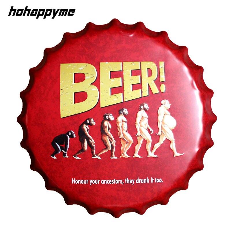 Hot Beer Bottle Cap Decorative Metal Plate Plaque Vintage
