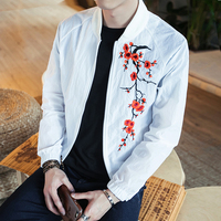 Chinese Style Jacket Men Summer Fashion Plum Blossom Embroidery Windbreaker Coat Thin Loose Bomber Jacket Sun Protection Clothes