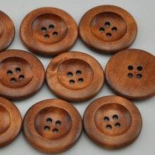 Новинка, 20 шт., круглые деревянные пуговицы темного кофе для одежды, 4 отверстия, 30 мм, Лоскутная Кнопка для рукоделия, аксессуары для шитья WB222