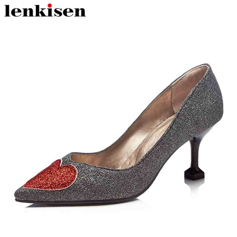 Lenkisen pop sequined cloth pointed toe slip on high wine cup heels pumps mixed color love print sweet plus size women shoes L03