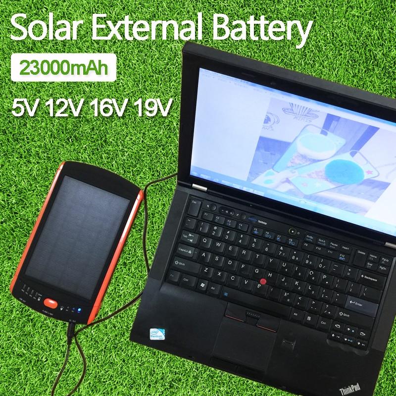 imágenes para De alta Potencia 23000 mAh Batería Externa del Cargador para el Ordenador Portátil de Copia de seguridad de Energía Solar de Gran Capacidad 5 V 12 V 16 V 19 V Banco de Energía Del Panel Solar
