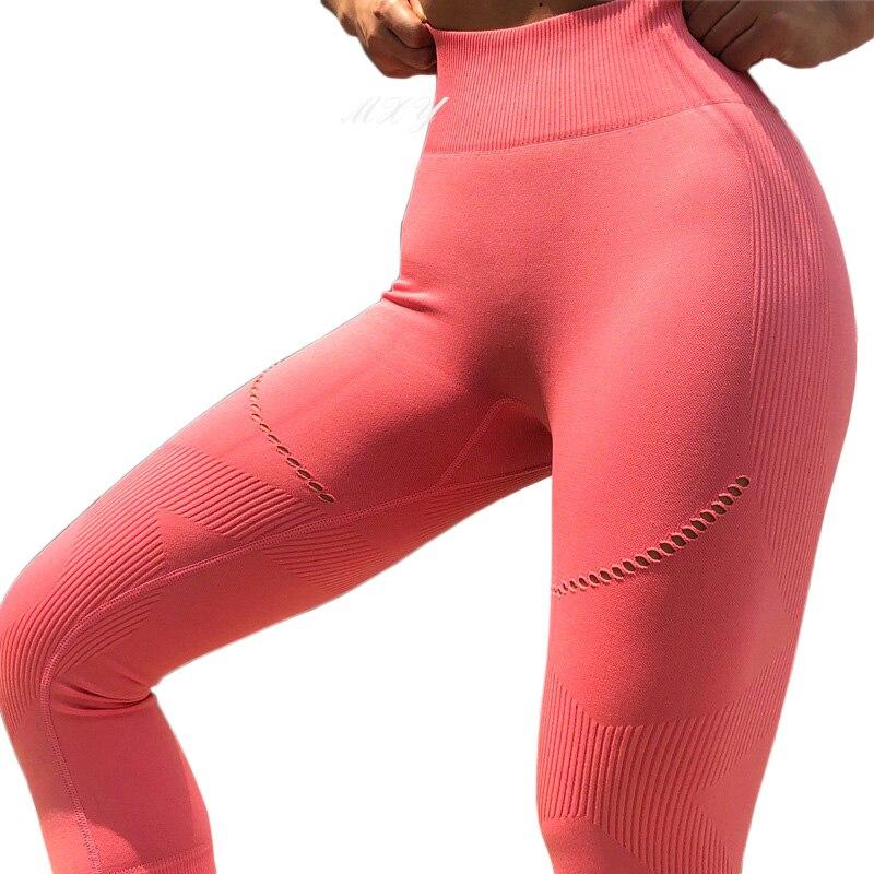 <+>  Женщины бесшовные талии йога штаны эластичные узкие талии йога леггинсы персик бедра тонкие спортивн ①