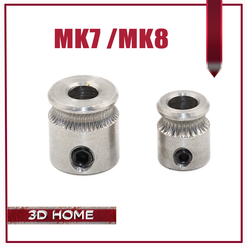 MK7 MK8 Extruder Drive Gear Bore 5mm For 1.75mm and 3.0mm Hobbed Gear For Makerbot Reprap Mendel High Quality Stainless Steel
