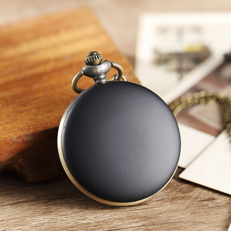 Unique Vintage Simple Cute Black Smooth Quartz Pocket Watch Women Men Pendant Necklace Lady Gifts  Steampunk Pocket Watches