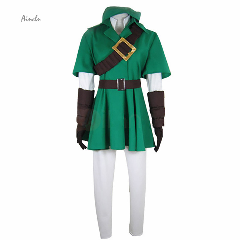 Ainclu Customize Free Shipping Fashionable The Legend of Zelda Link Adult Kid Forest Green Cosplay Costume for Halloween Party