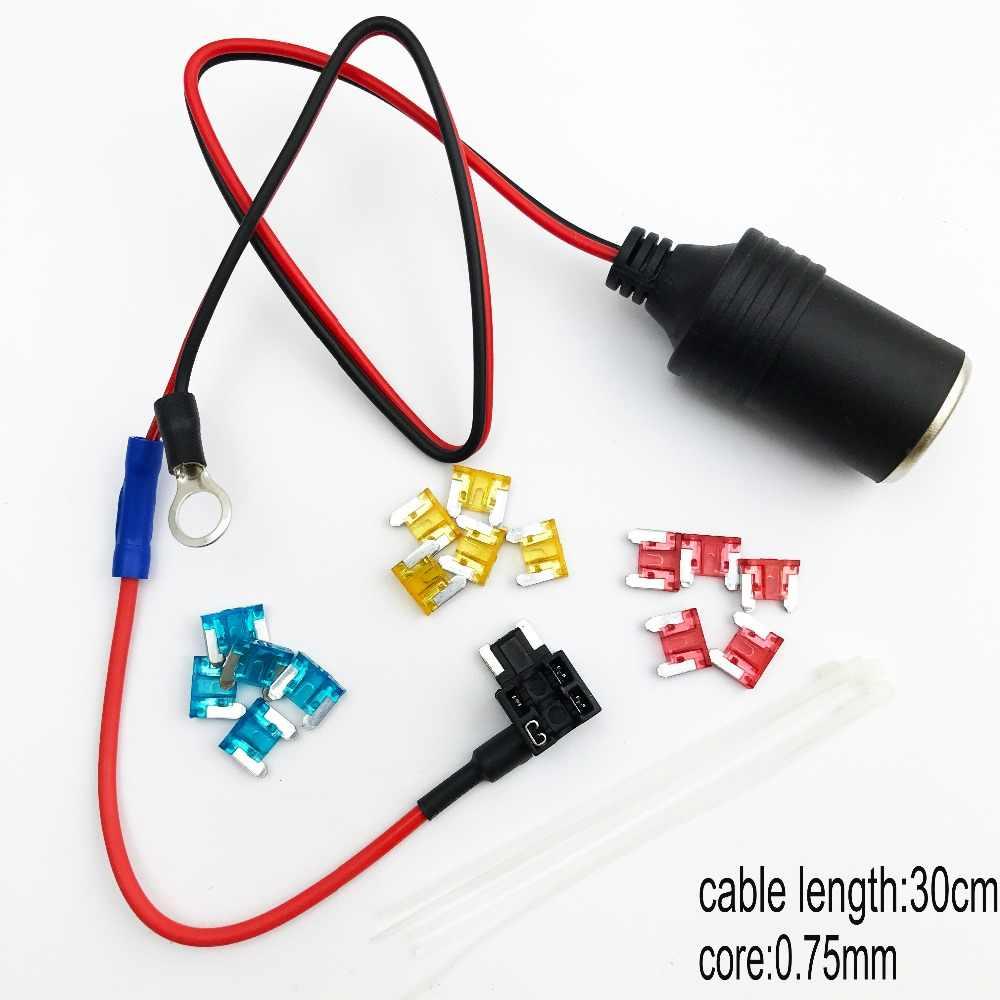 small resolution of 1set 30cm car cigarette cigar lighter socket 12v extension standard fuse tap holder lead with m
