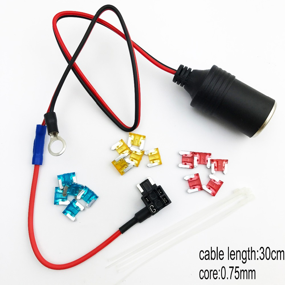 1set 30cm Car Cigarette Cigar Lighter socket 12V Extension standard Fuse Tap Holder Lead with M/s/mini size fuse 5/10/15A