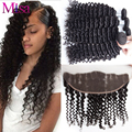 7A Vip Beauty Hair 4 Bundles With Frontal Malaysian Deep Curly Hair Lace Frontal Closure Malaysian Virgin Curly Hair Extensions