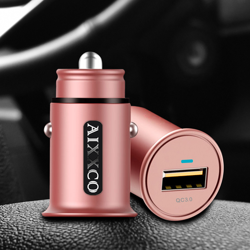 AIXXCO MINI USB Car Charger Quick Charge 2.0 3.0 Mobile Phone Car-charger adapter for iPhone Samsung Xiaomi Car Phone Charger