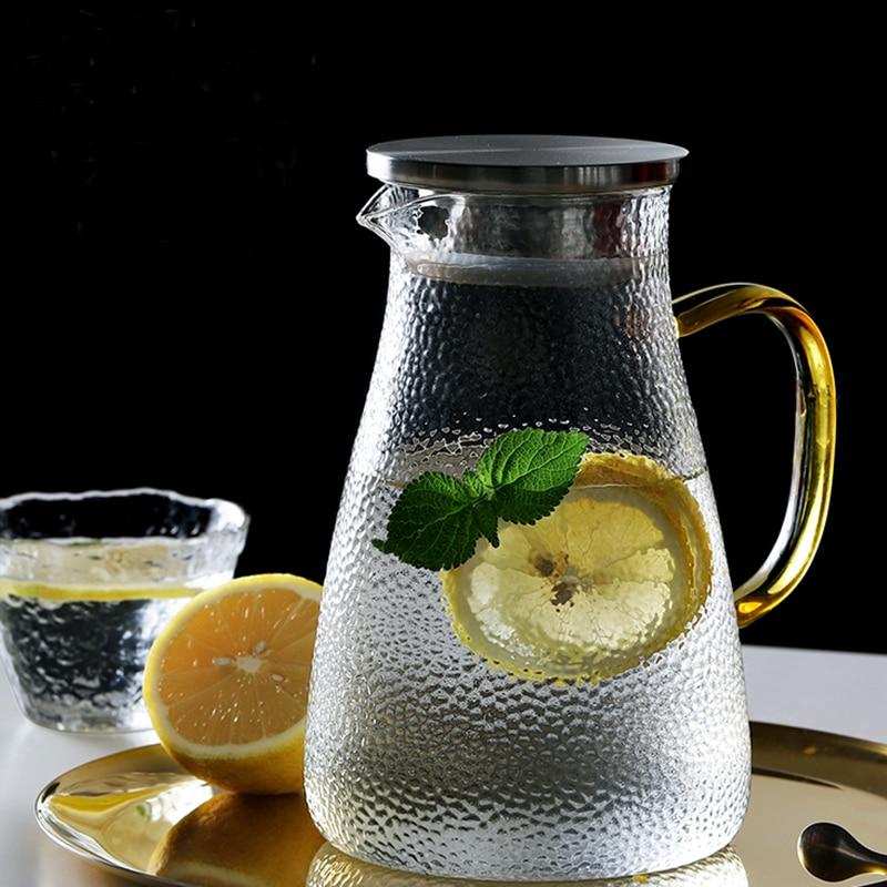 Glass Tea Pot Cold Kettle Glass Pitcher Water Bottle Snow Point Hammer High Temperature Resistance Heatable 1L 1.5L 1.8L 2L 2.5L Pitchers     - title=