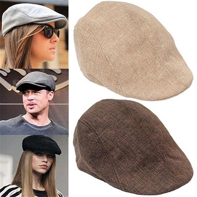 cf340b6ec83 Drop shipping Women Beret Caps for Men Summer Vintage News Boy Cabbie  Gatsby Linen Flat Caps