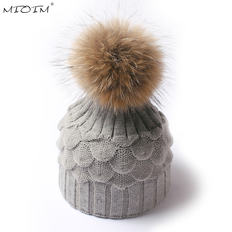 MIOIM Winter Autumn Real Raccoon Pom Pom Beanies Hat Women Knitted Skullies Casual Caps  Fur Pompom Thick Warm Hats 7 Colors 3
