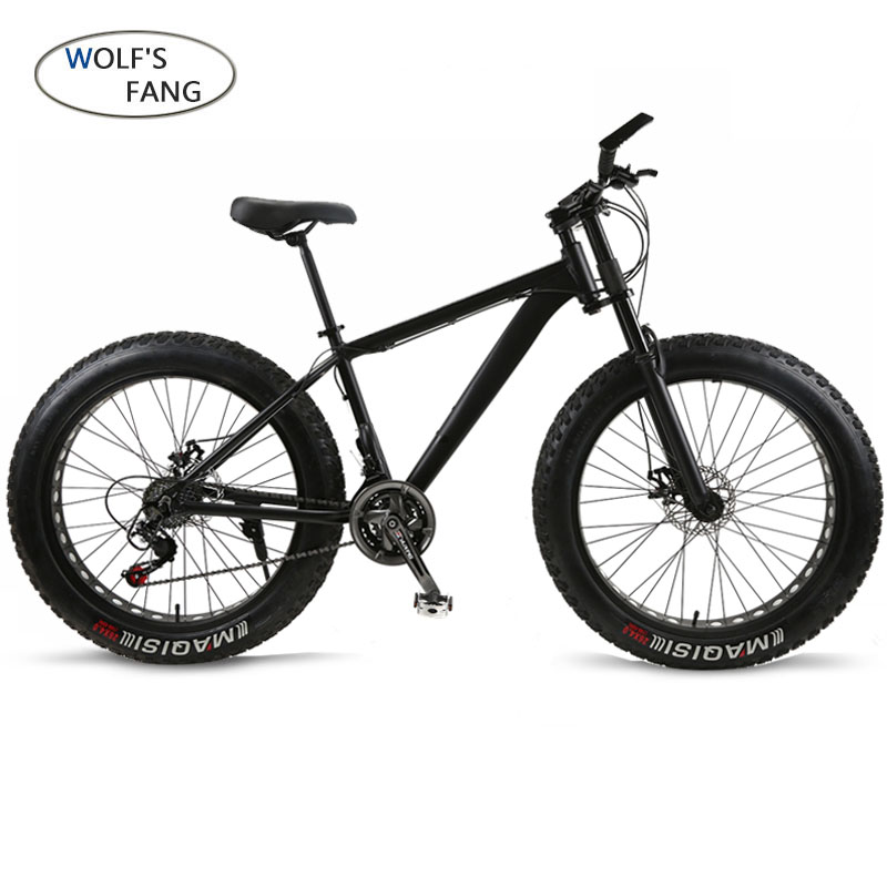 wolf's fang Bicycle Mountain <font><b>Bike</b></font> 21 speed Aluminum alloy frame fat <font><b>bike</b></font> Snow <font><b>bike</b></font> Front and Rear Mechanical Disc Brade Male image