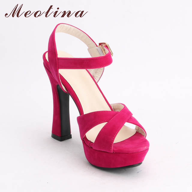 048101cc4421c3 Online Shop Meotina Women Shoes Sandals Summer 2018 Platform Sandals Plus  Size 34-43 Ankle Strap High Heel Shoes Sexy Party Shoes Black Pink