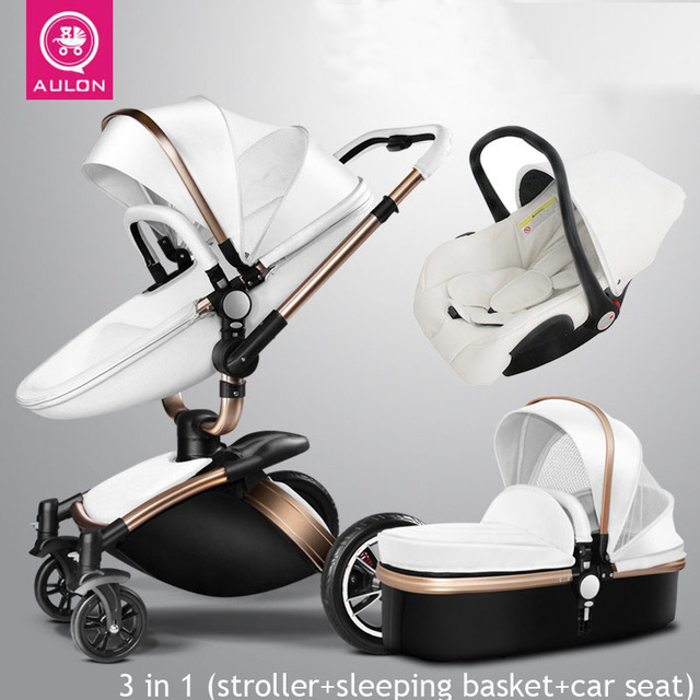 AULON Baby Stroller 3 In 1 With Car Seat High View Shock Absorber Carriage