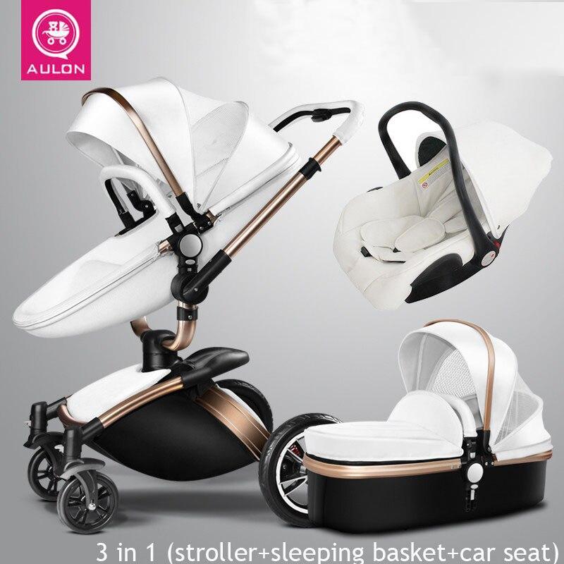 AULON Del Bambino Passeggino 3 in 1 con Seggiolino Auto di alta-view ammortizzatore carrozzina Culla del bambino appena nato