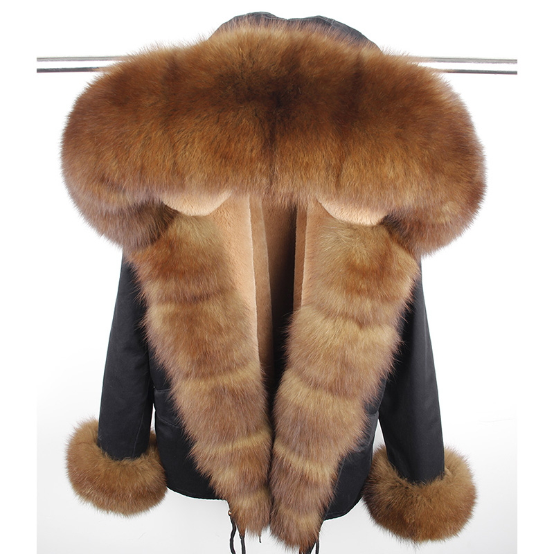 New Fashion Women's Luxurious Large Real Fox Fur Collar Cuff Hooded Coat Short Parkas Outwear Winter Jacket