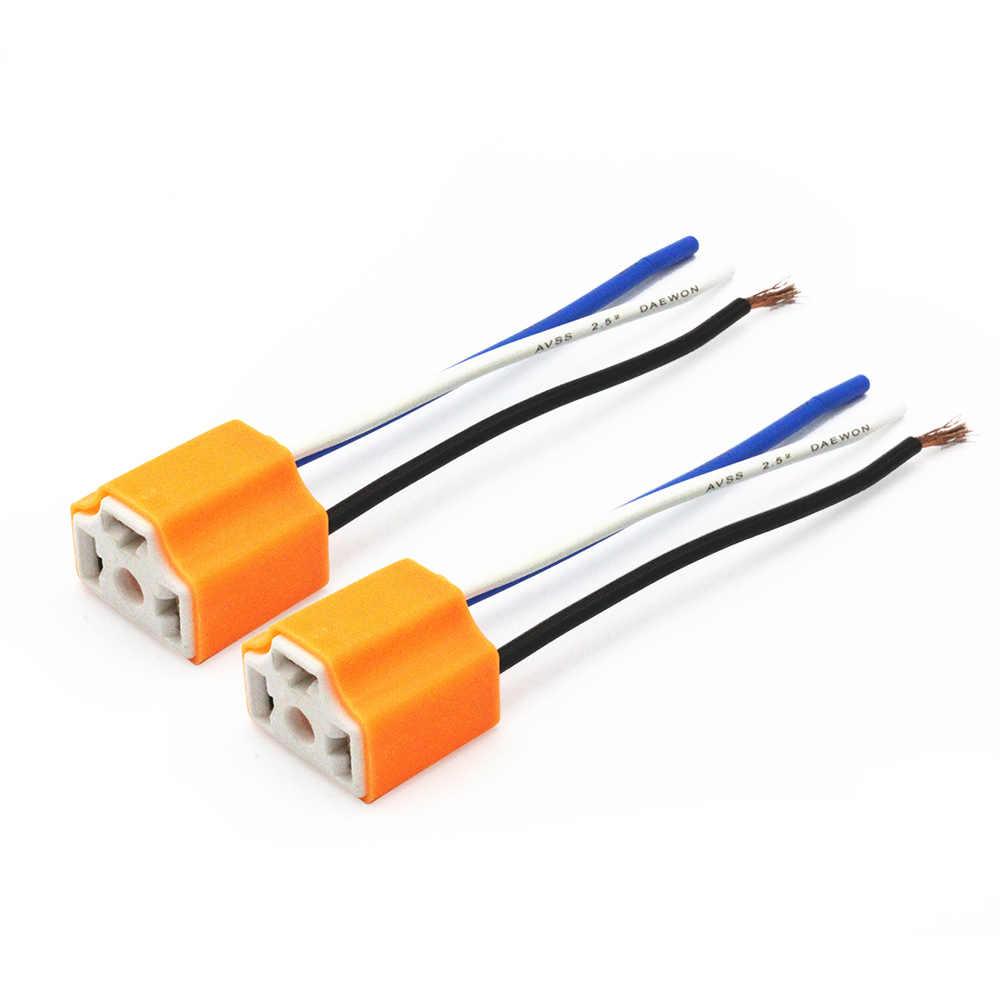hight resolution of  2pcs h4 9003 hb2 ceramics led bulb holder for car headlight fog lamp h4