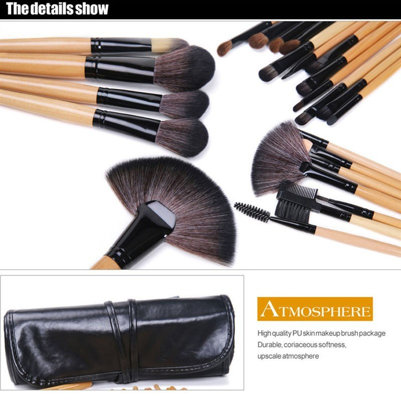 24 Pcs Makeup Brush Sets with Bag for Blending Foundation and Powder Suitable for Contouring and Highlighting 7