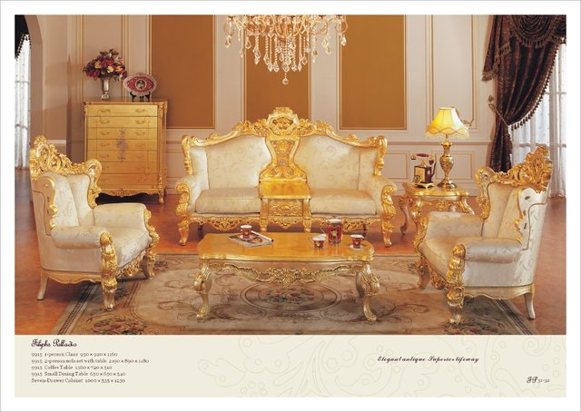 Buy Classic Furniture Sofa Set All Golden Solid Wood Living