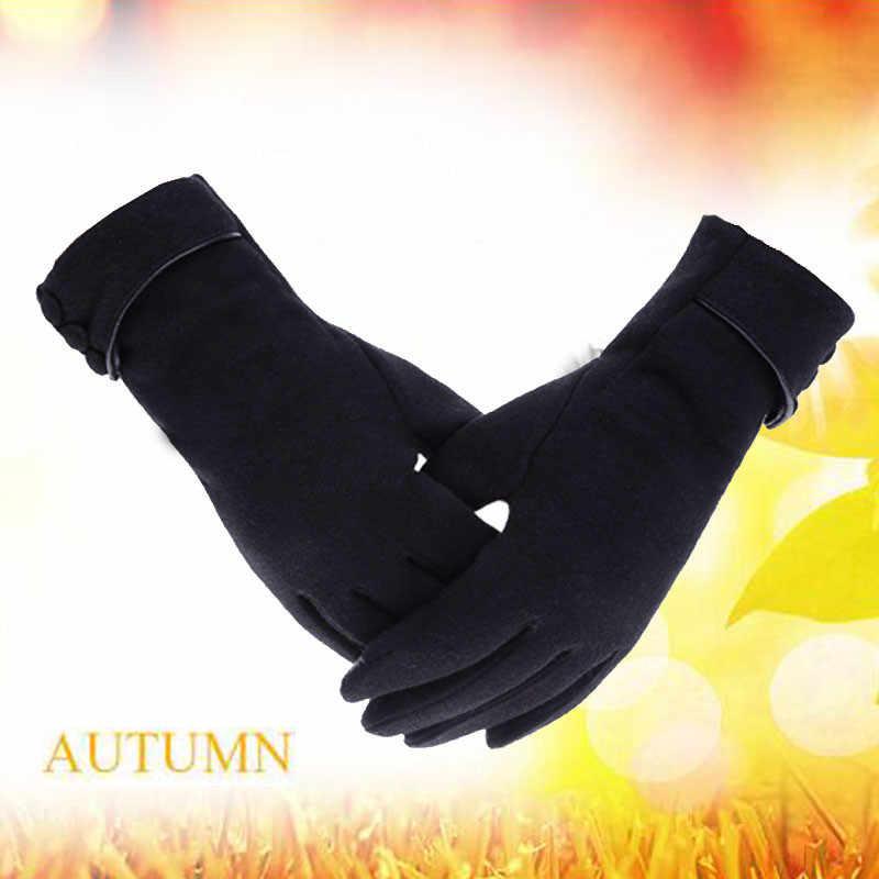 冬防風暖かいフリース女性手袋タッチフォン乗り手袋ファッションソリッドカラースクラブフランネルフル指ミトン