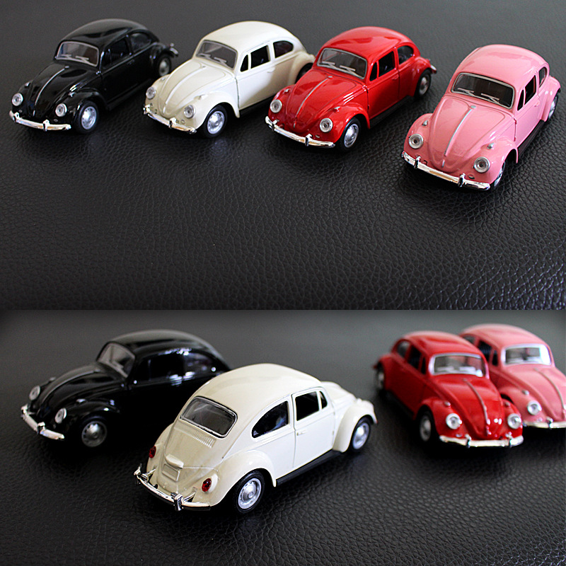 High Simulation Alloy Vintage Car 1:32 Diecast Metal Pull-back Double Doors Open Alloy Car Model Toy Apply To Volkswagen Beetle