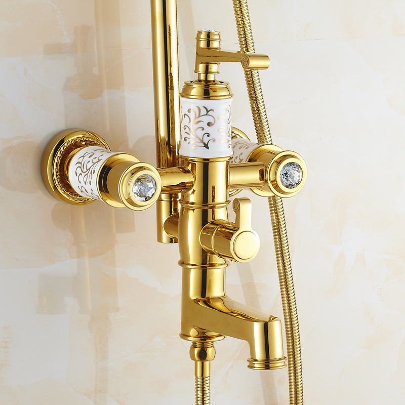 """Luxury Rose Golden Bathroom Shower Faucet Wall Mounted 8 Rain Showerhead Coming With Hand Spray Round Luxury Rose Golden Bathroom Shower Faucet Wall Mounted 8"""" Rain Showerhead Coming With Hand Spray Round Bar Mixer Shower Set"""