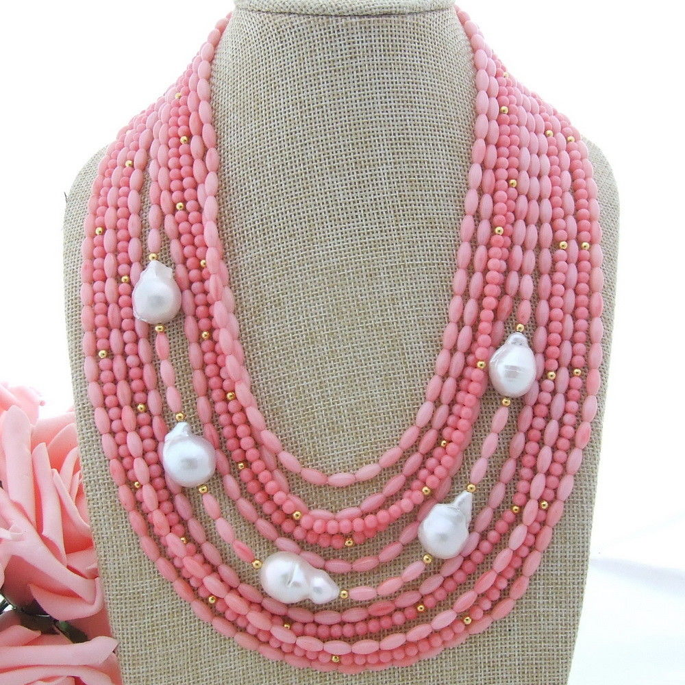 Collier rose corail blanc Keshi perle 18