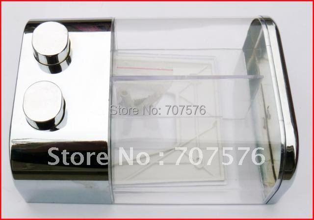 Free Shipping Small Wholesale 2*350ml European Plastic Double Sanitizer box Handheld ABS Lotion soap dispenser TSD19 Chrome